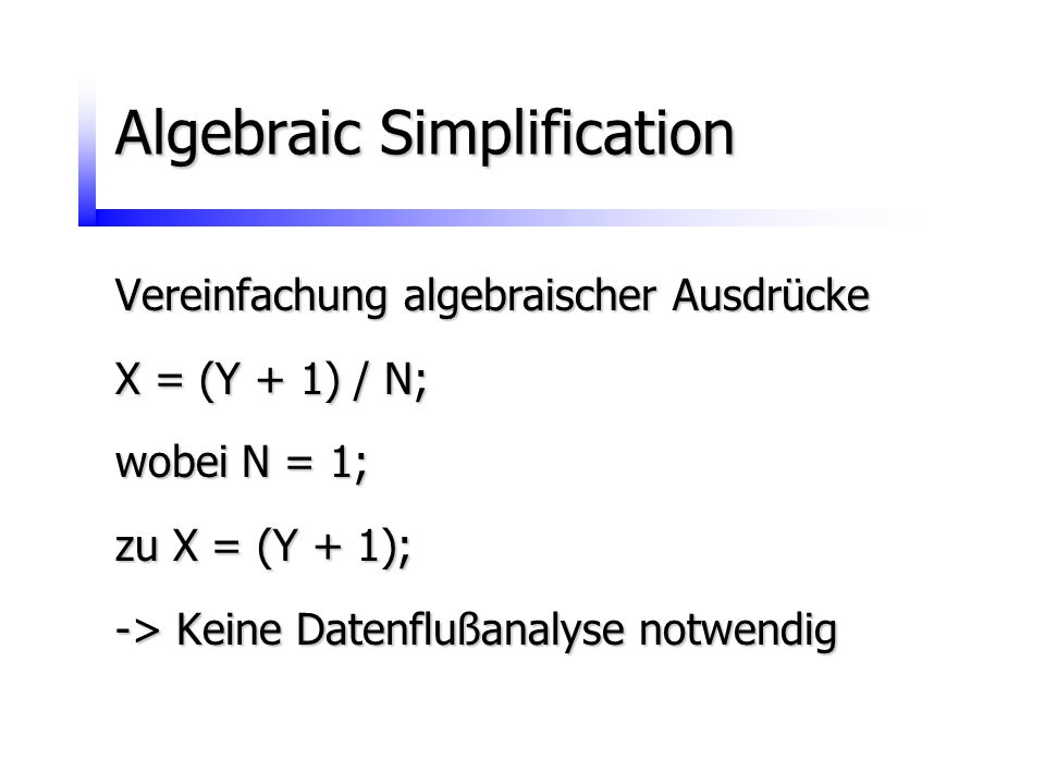 Algebraic Simplification