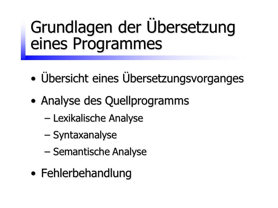 Grundlagen der Übersetzung eines Programmes