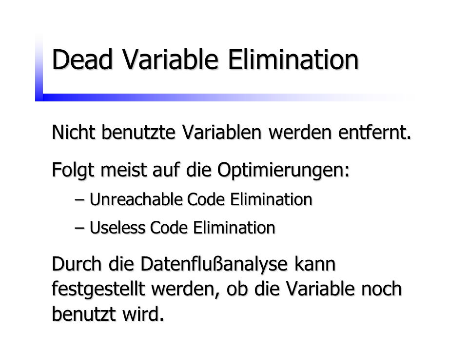Dead Variable Elimination