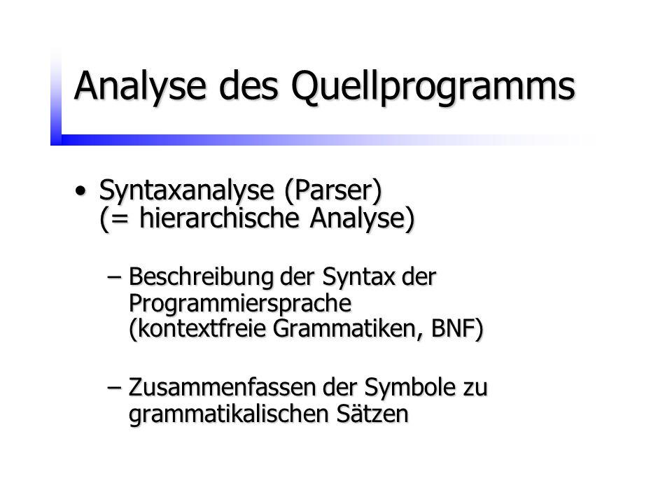Analyse des Quellprogramms