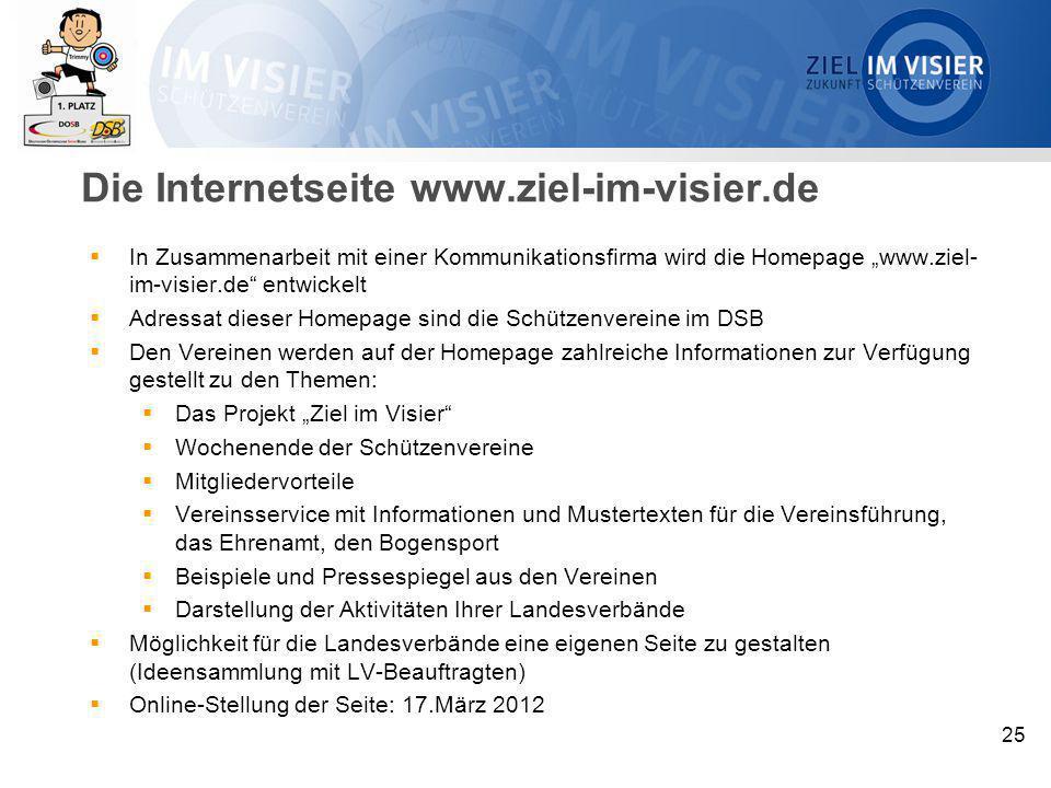 Die Internetseite www.ziel-im-visier.de