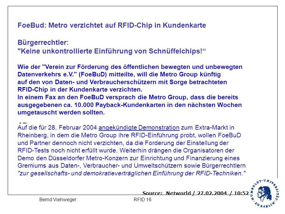 FoeBud: Metro verzichtet auf RFID-Chip in Kundenkarte Bürgerrechtler: