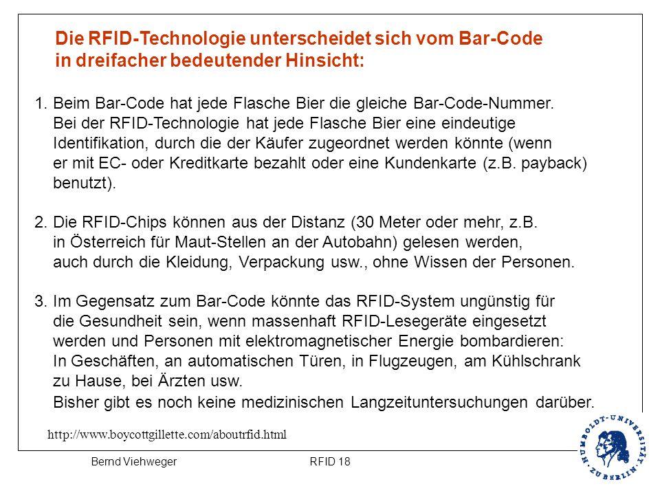 Die RFID-Technologie unterscheidet sich vom Bar-Code