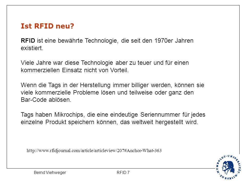 Ist RFID neu RFID ist eine bewährte Technologie, die seit den 1970er Jahren. existiert.