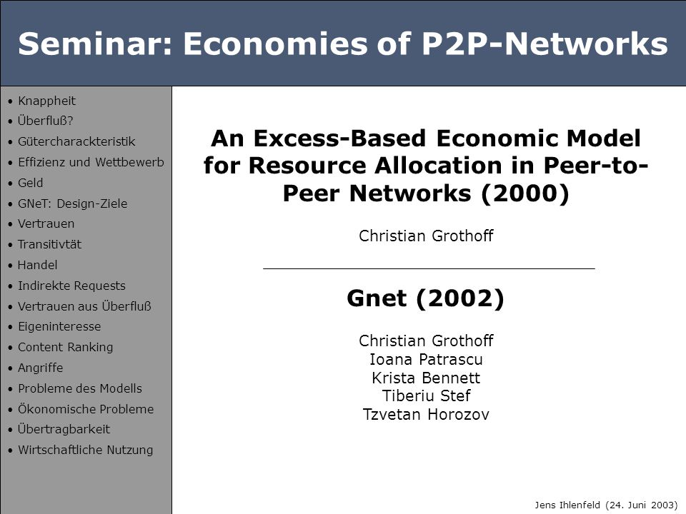 Seminar: Economies of P2P-Networks