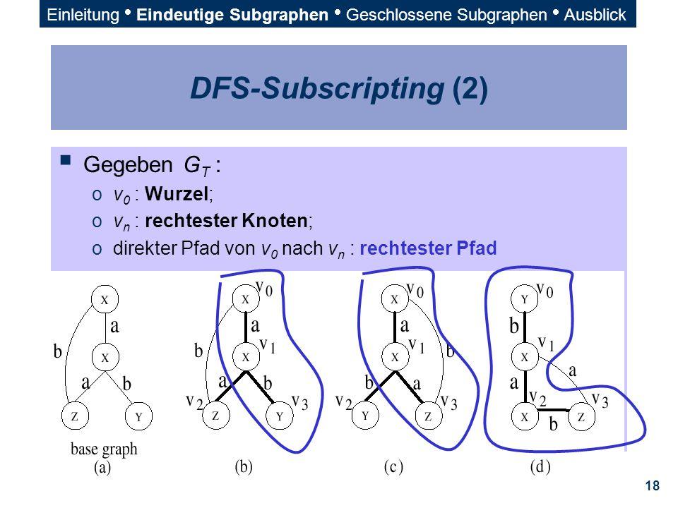 DFS-Subscripting (2) Gegeben GT : v0 : Wurzel; vn : rechtester Knoten;