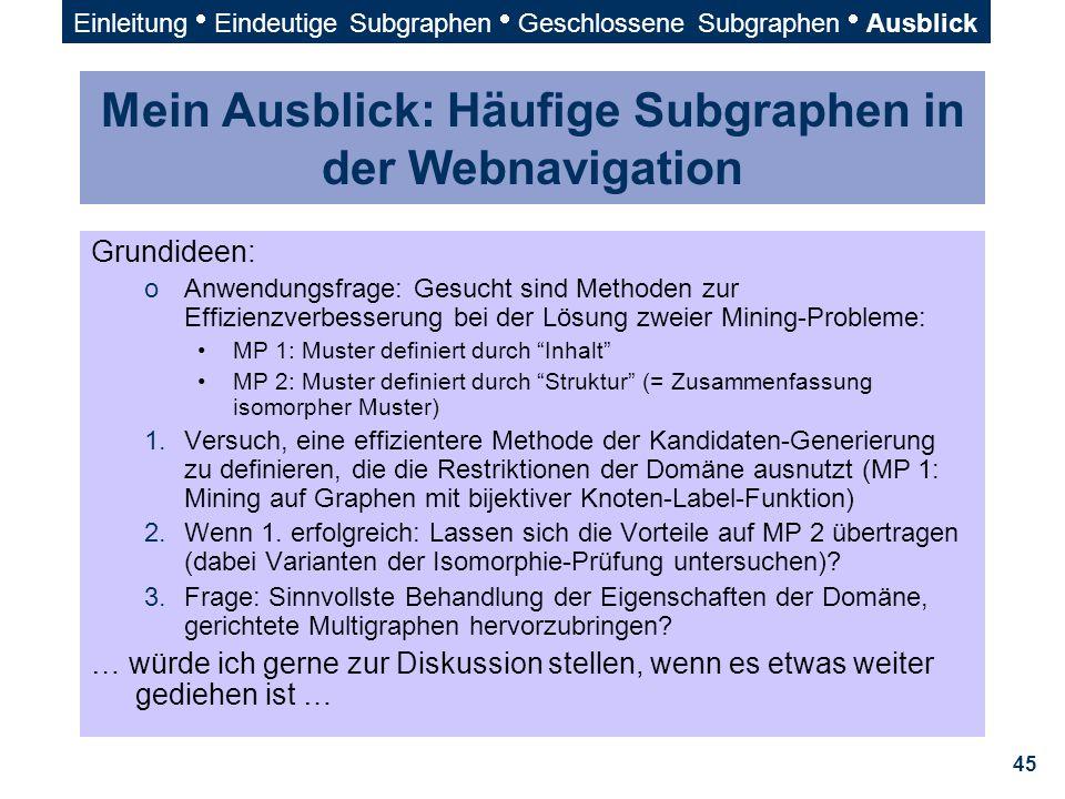Mein Ausblick: Häufige Subgraphen in der Webnavigation