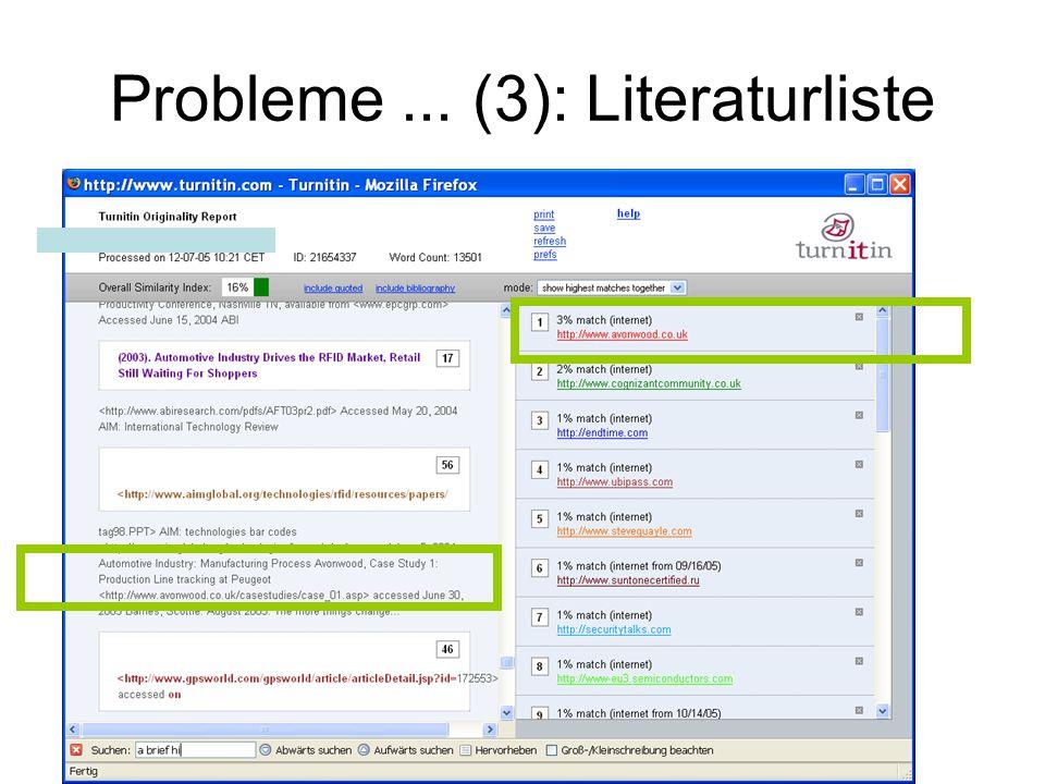 Probleme ... (3): Literaturliste