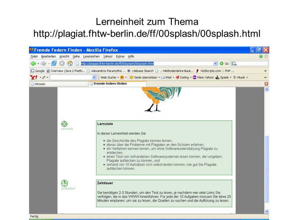Lerneinheit zum Thema http://plagiat. fhtw-berlin