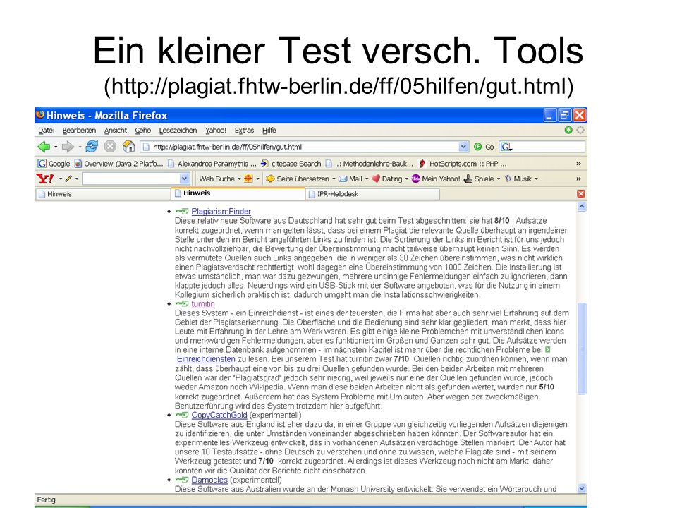 Ein kleiner Test versch. Tools (http://plagiat. fhtw-berlin