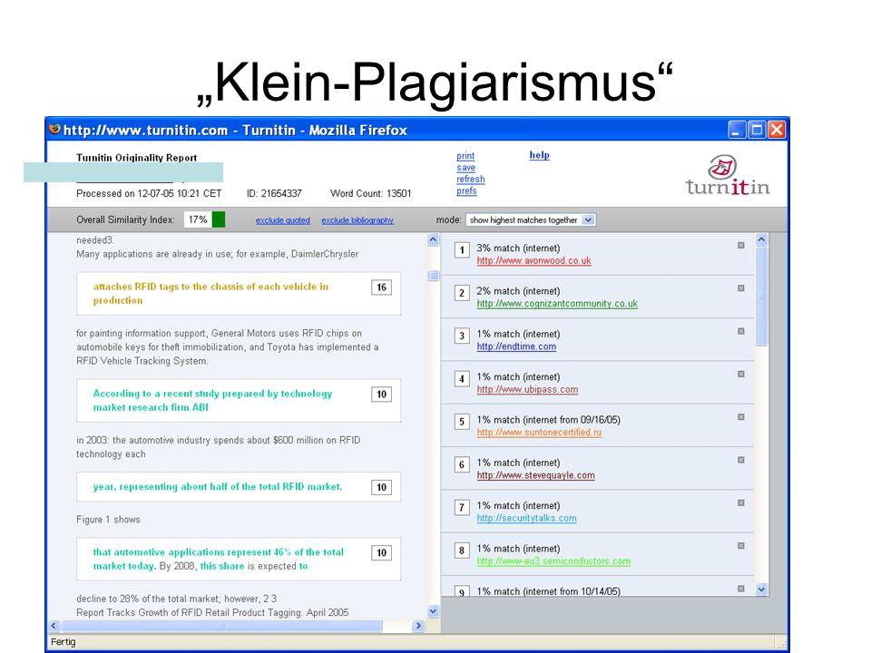 """""""Klein-Plagiarismus"""