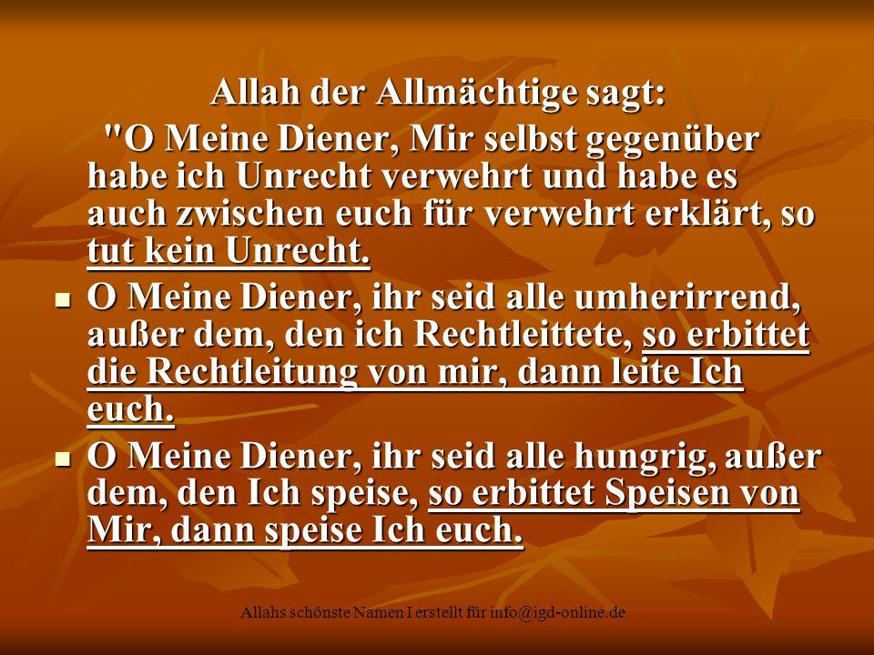 Allah der Allmächtige sagt: