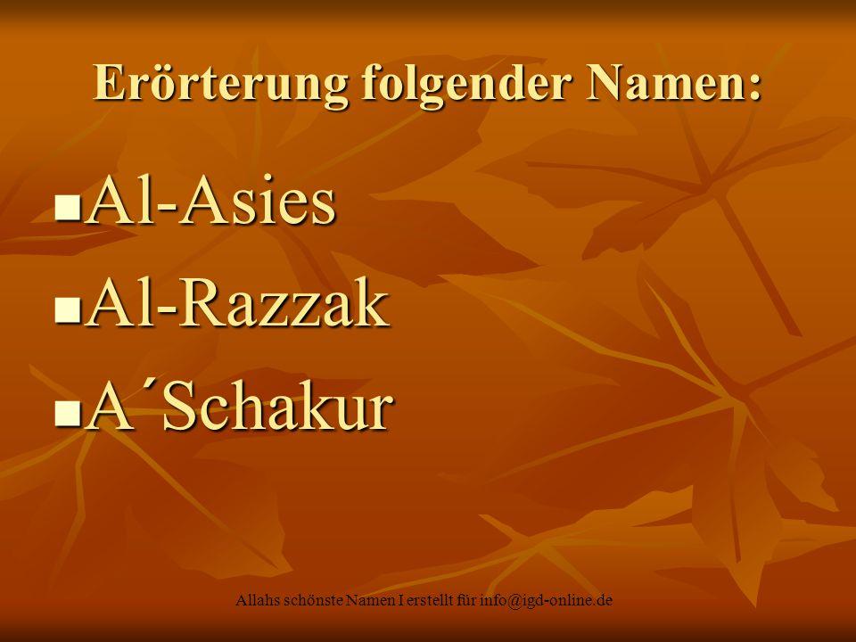 Erörterung folgender Namen:
