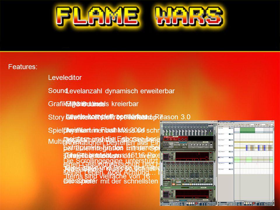 Features: Leveleditor. Sound. Levelanzahl dynamisch erweiterbar. Eigene Levels kreierbar. Levels komplett zerstörbar.