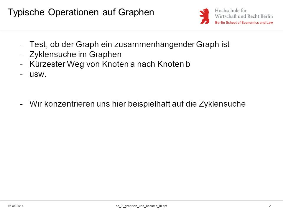 Typische Operationen auf Graphen
