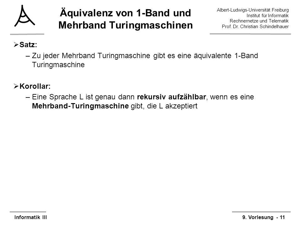 Äquivalenz von 1-Band und Mehrband Turingmaschinen