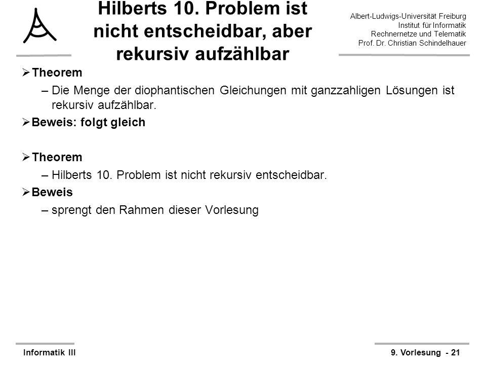 Hilberts 10. Problem ist nicht entscheidbar, aber rekursiv aufzählbar