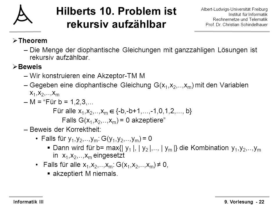 Hilberts 10. Problem ist rekursiv aufzählbar