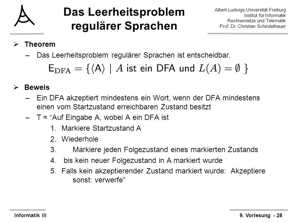 Das Leerheitsproblem regulärer Sprachen