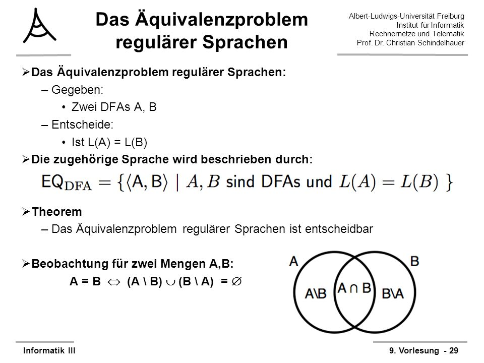 Das Äquivalenzproblem regulärer Sprachen