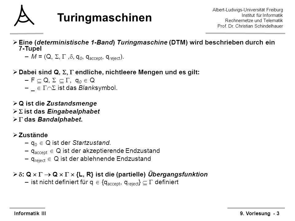 Turingmaschinen Eine (deterministische 1-Band) Turingmaschine (DTM) wird beschrieben durch ein 7-Tupel.