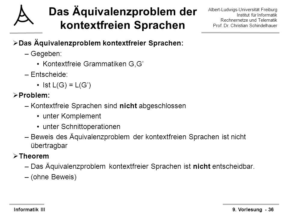 Das Äquivalenzproblem der kontextfreien Sprachen