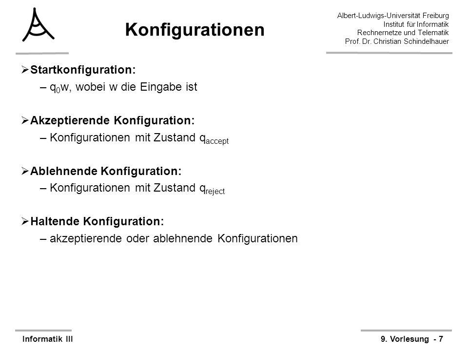 Konfigurationen Startkonfiguration: q0w, wobei w die Eingabe ist