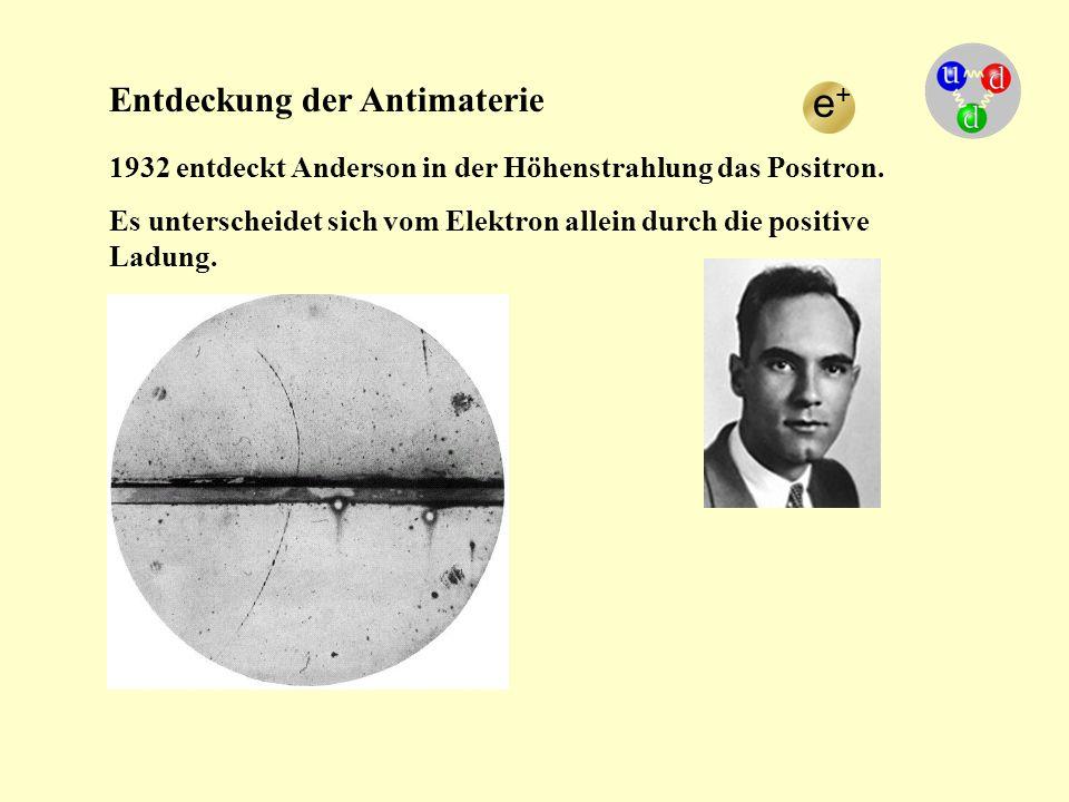 e+ Entdeckung der Antimaterie