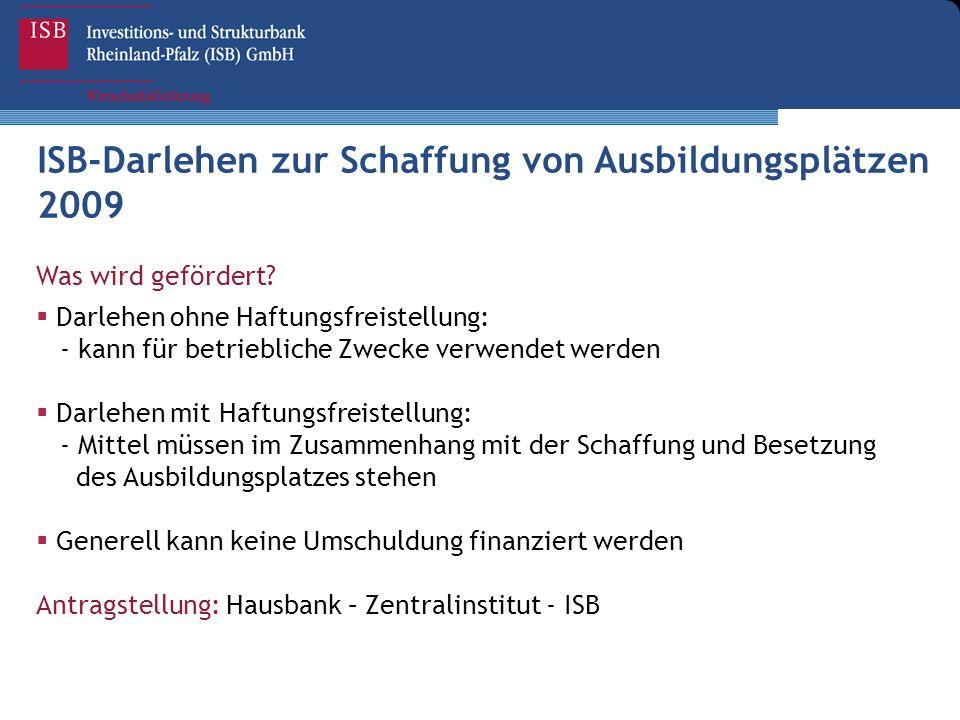 ISB-Darlehen zur Schaffung von Ausbildungsplätzen 2009