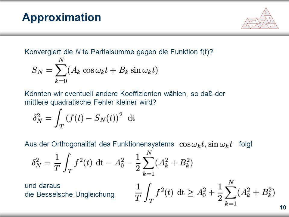 Approximation Konvergiert die N te Partialsumme gegen die Funktion f(t)
