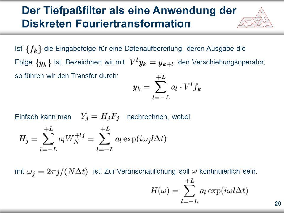 Der Tiefpaßfilter als eine Anwendung der Diskreten Fouriertransformation