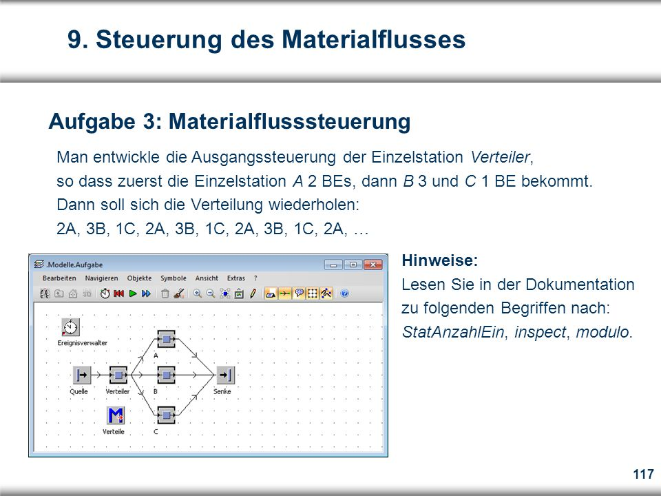 9. Steuerung des Materialflusses