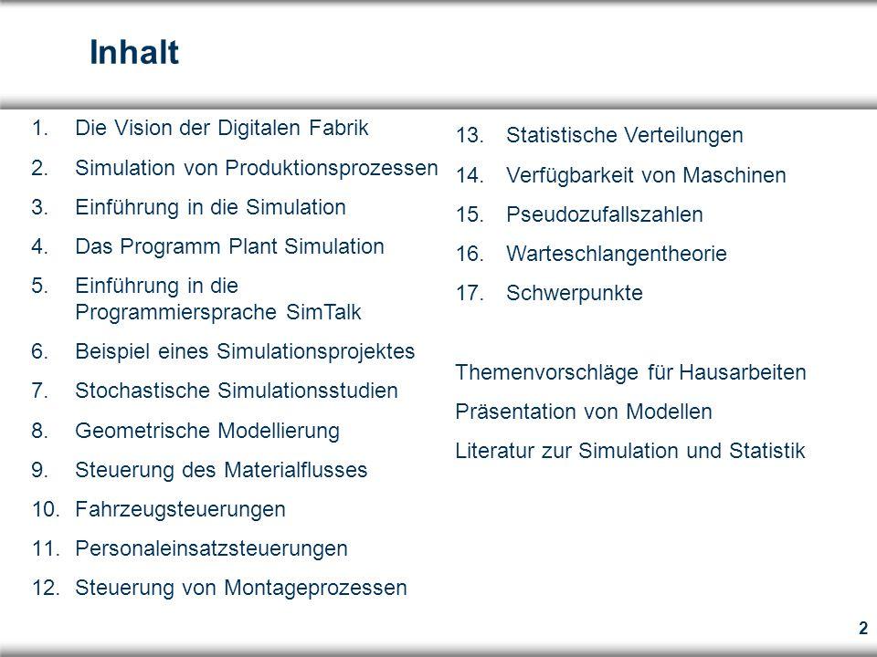 Inhalt Die Vision der Digitalen Fabrik Statistische Verteilungen