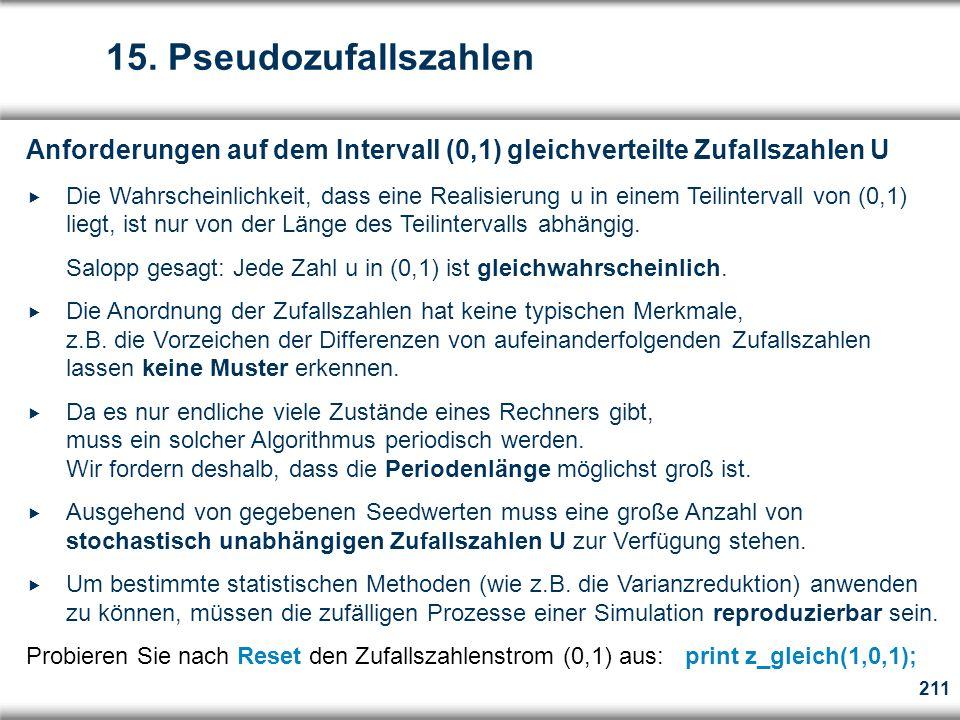 15. Pseudozufallszahlen Anforderungen auf dem Intervall (0,1) gleichverteilte Zufallszahlen U.