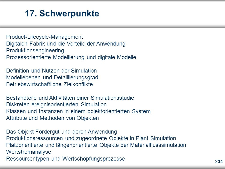 17. Schwerpunkte Product-Lifecycle-Management