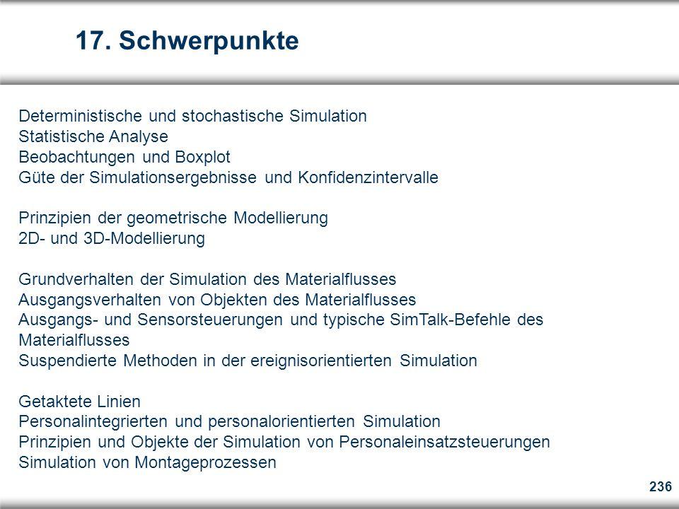 17. Schwerpunkte Deterministische und stochastische Simulation