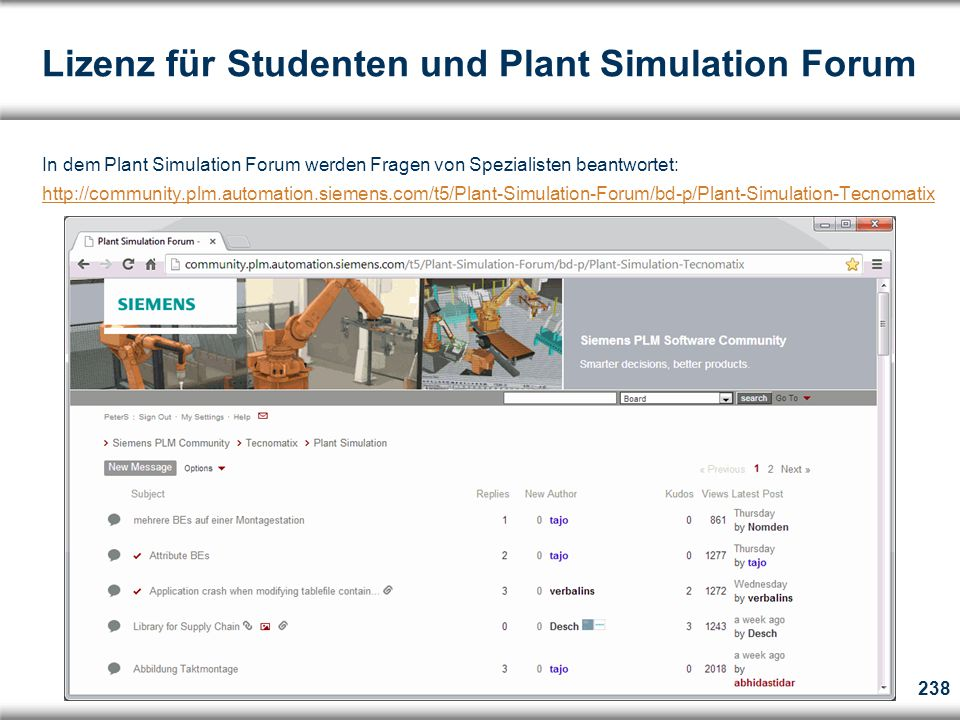 Lizenz für Studenten und Plant Simulation Forum