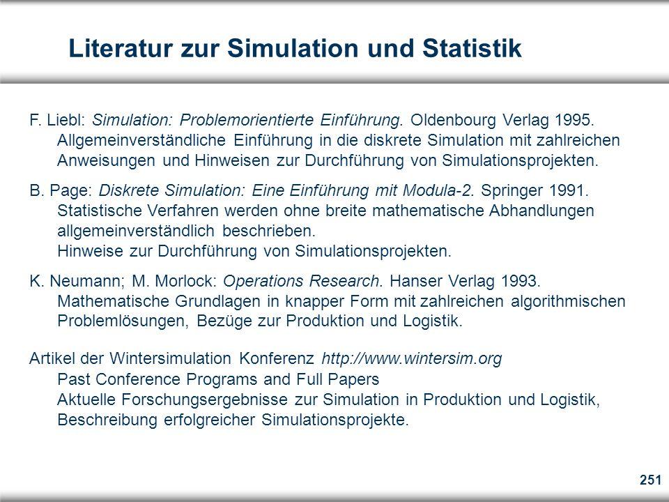 Literatur zur Simulation und Statistik