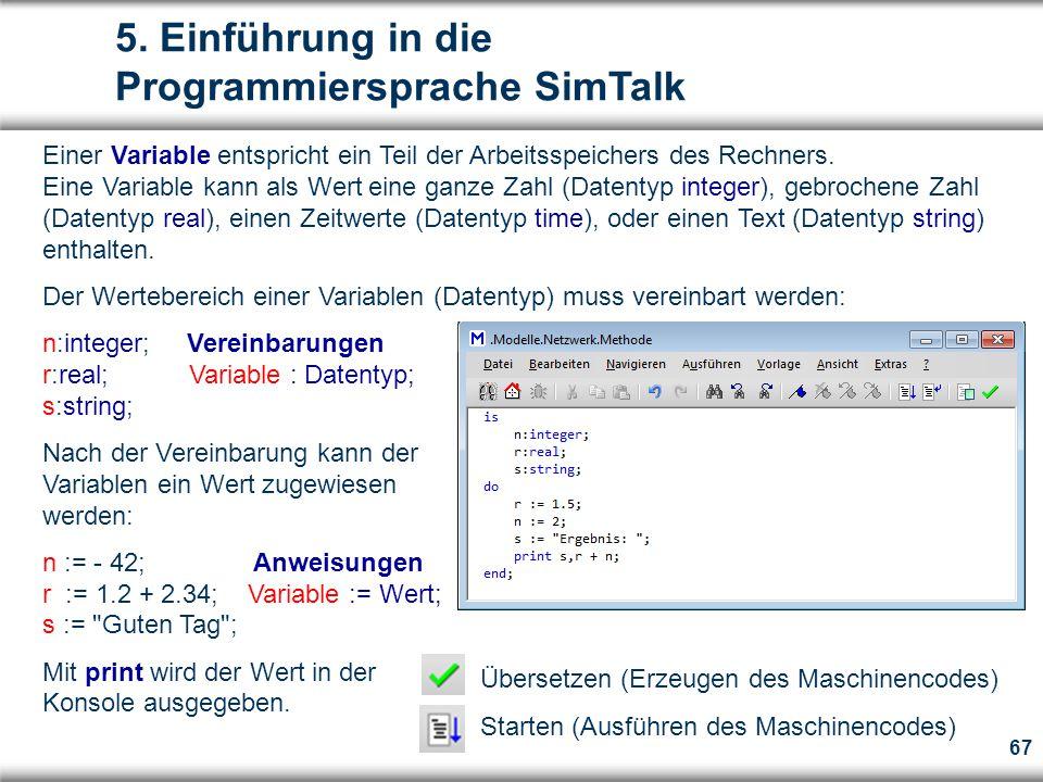5. Einführung in die Programmiersprache SimTalk