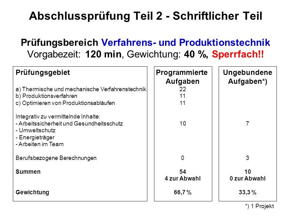 Abschlussprüfung Teil 2 - Schriftlicher Teil Prüfungsbereich Verfahrens- und Produktionstechnik Vorgabezeit: 120 min, Gewichtung: 40 %, Sperrfach!!