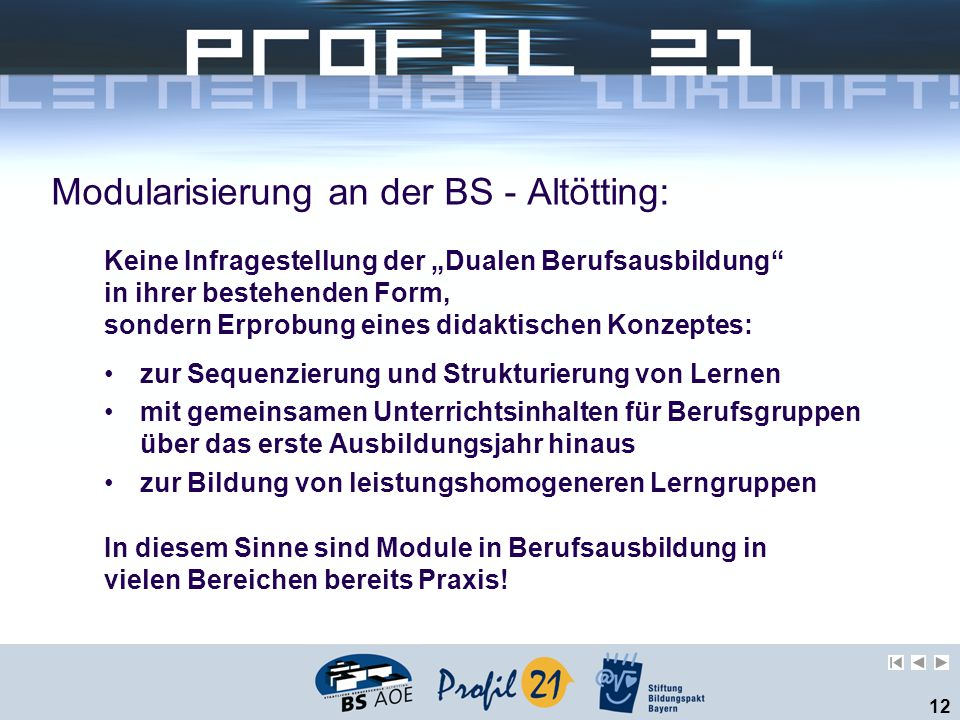 Modularisierung an der BS - Altötting: