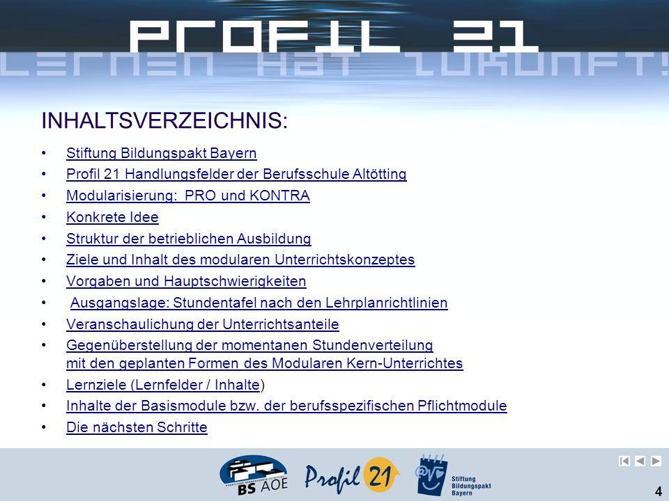 INHALTSVERZEICHNIS: Stiftung Bildungspakt Bayern