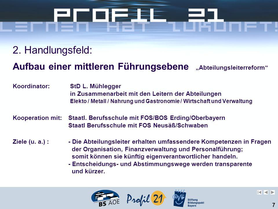 """2. Handlungsfeld: Aufbau einer mittleren Führungsebene """"Abteilungsleiterreform Koordinator: StD L. Mühlegger."""