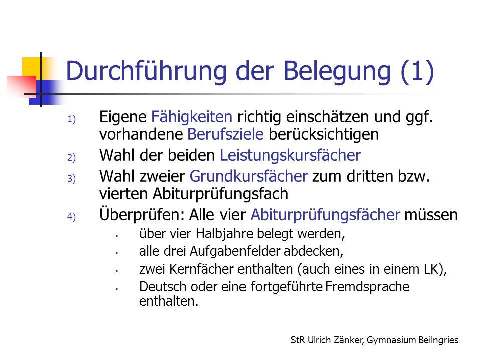 Durchführung der Belegung (1)