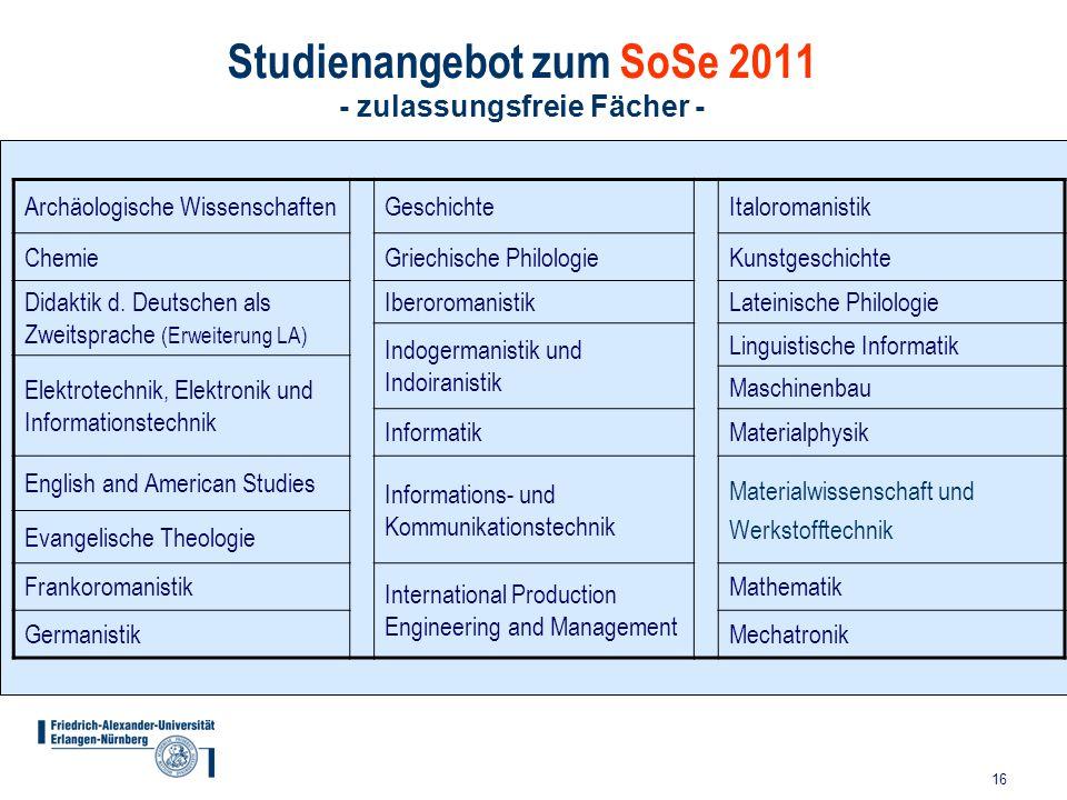 Studienangebot zum SoSe 2011 - zulassungsfreie Fächer -