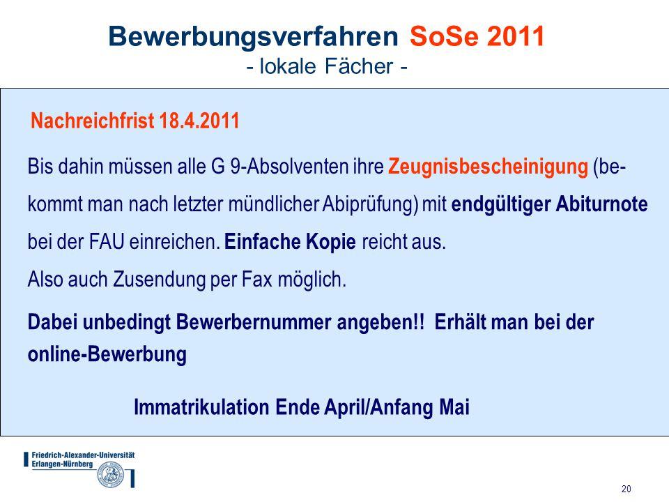 Bewerbungsverfahren SoSe 2011 - lokale Fächer -