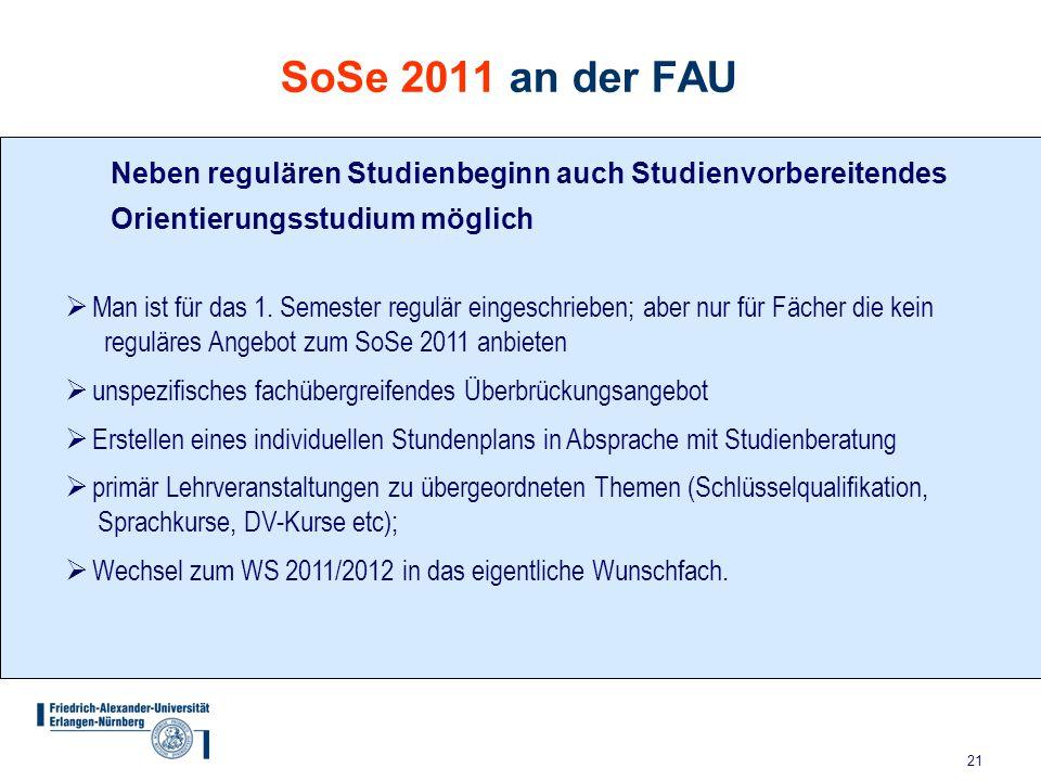 SoSe 2011 an der FAU Neben regulären Studienbeginn auch Studienvorbereitendes Orientierungsstudium möglich.