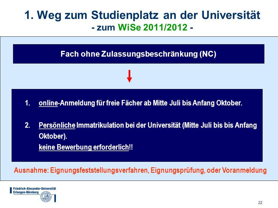 1. Weg zum Studienplatz an der Universität - zum WiSe 2011/2012 -
