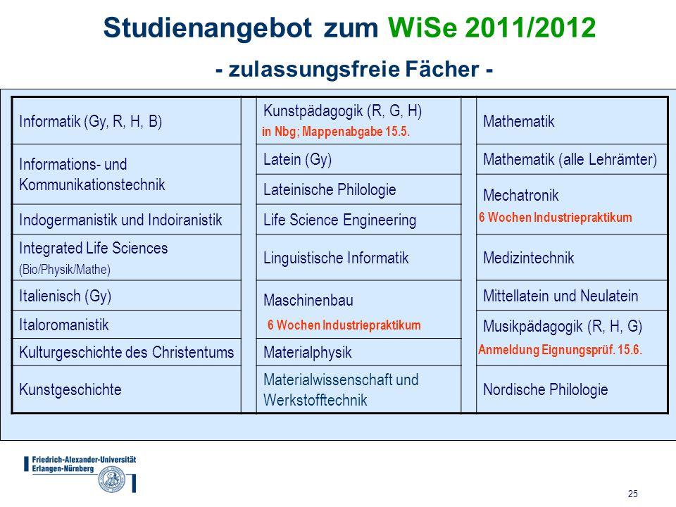 Studienangebot zum WiSe 2011/2012 - zulassungsfreie Fächer -
