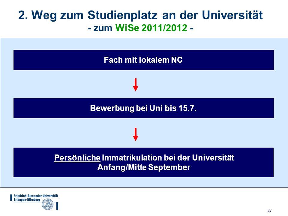 2. Weg zum Studienplatz an der Universität - zum WiSe 2011/2012 -
